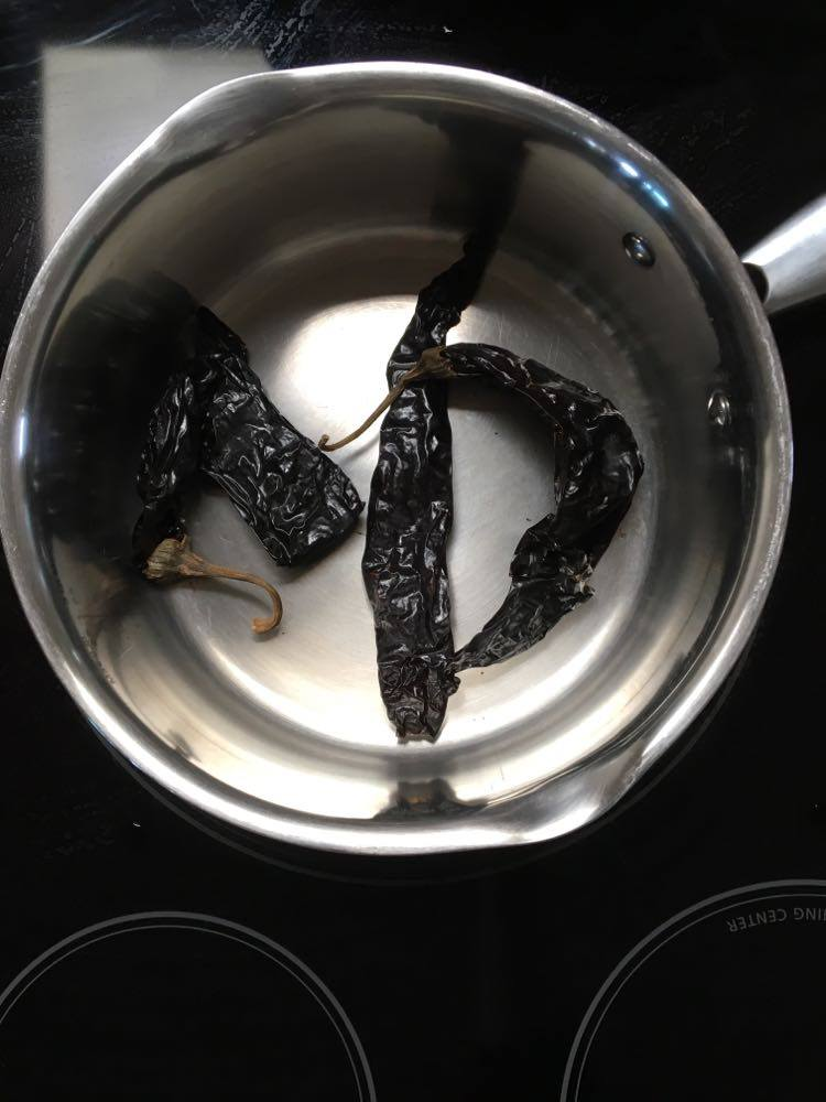 Toasting dried peppers